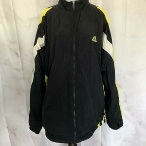 Adidas Black Windbreaker Yellow White Stripes XL